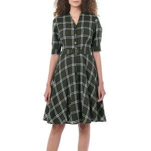 Eshakti Puff Sleeve Plaid Shirt Dress